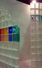 rainbow colored glass block wall in columbus ohio