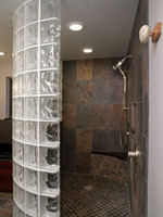 custom glass block shower enclosure by columbus glass block