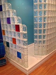 random colored glass blocks in a 72 x 51 acrylic shower base