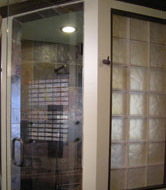 cinnamon colored glass blocks used in a shower wall insert for bathtastik DIY show