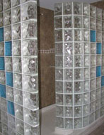 seascapes light blue colored glass blocks used in a 72 x 51 shower wall system