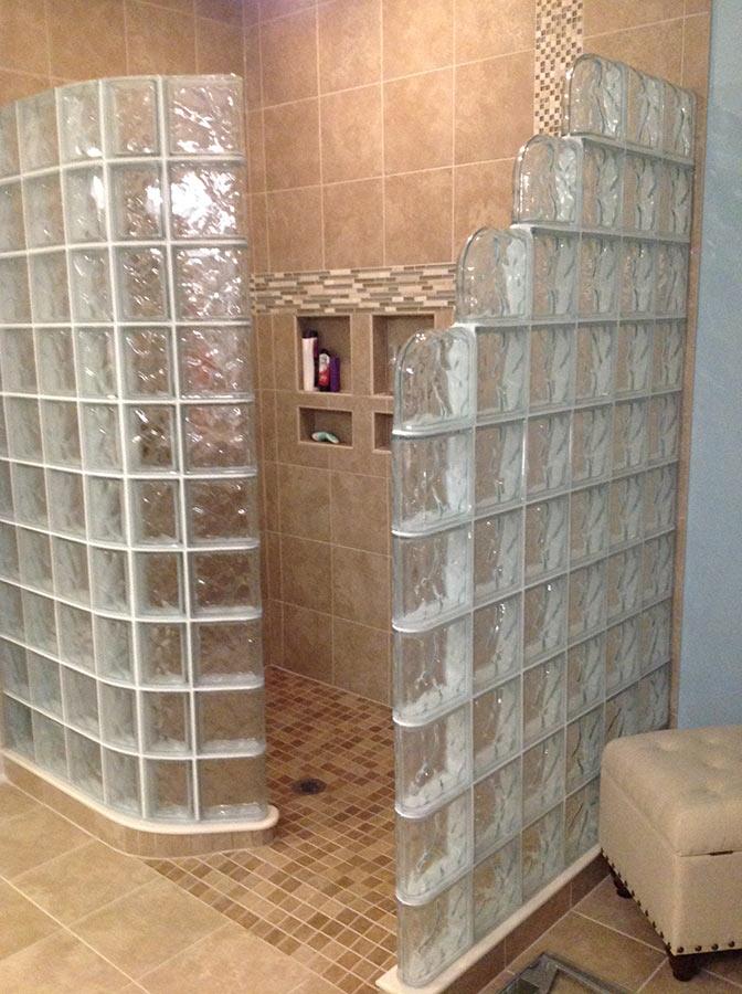 glass block shower wall walk in designs nationwide