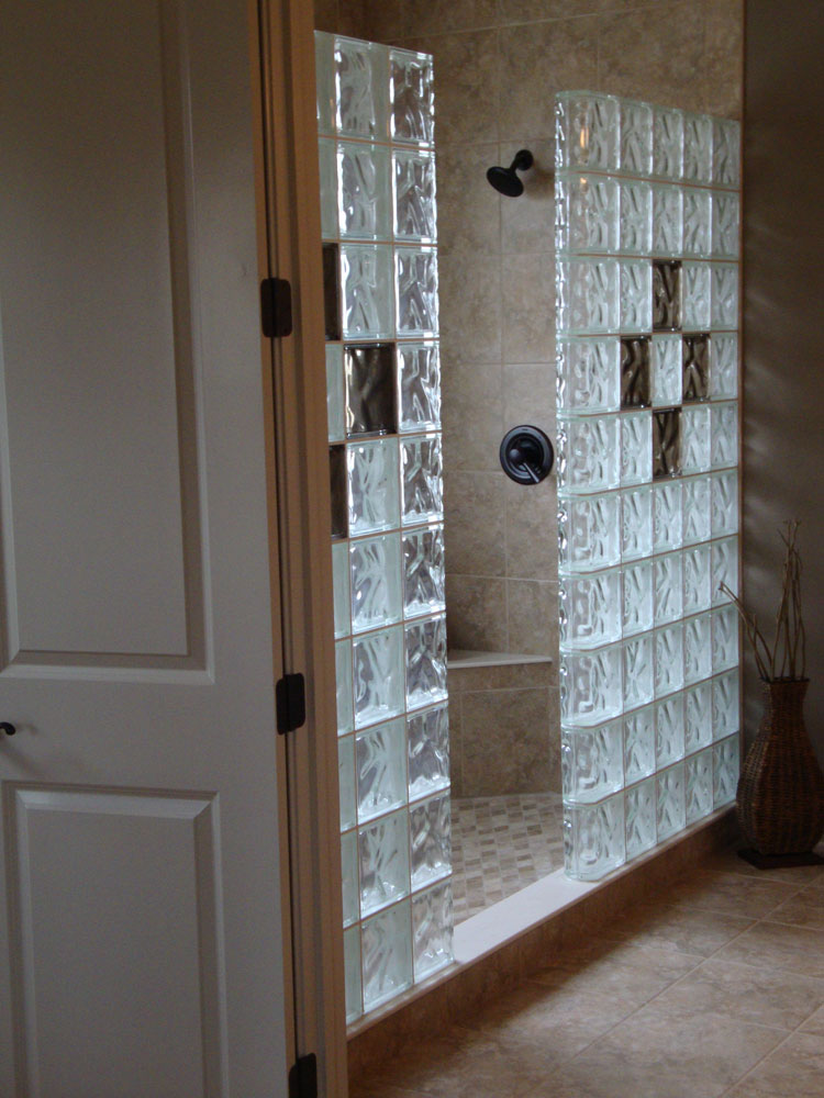 glass block shower wall walk in designs nationwide supply columbus cleveland ohio. Black Bedroom Furniture Sets. Home Design Ideas
