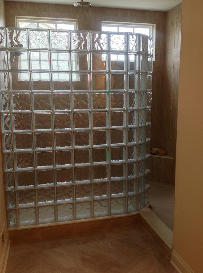 glass block walk in shower jerome village