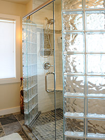 Frameless glass shower door w/ glass blocks