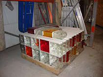 Colored prefabricated sections before shipment