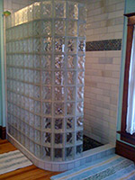 Curved walk-in shower