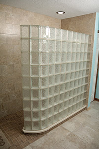 Completed glass block shower on ready for tile base