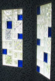 glass block bath window with different sizes & colors of blocks