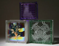dichroic glass block with a decorative etching in it