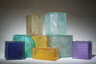 assorted colored and frosted glass block