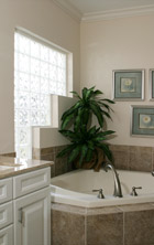 step down window design in an upscale bath project