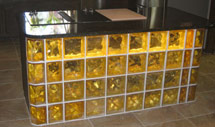 desk with yellowed colored glass
