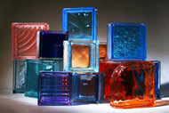 shaped & standard glass blocks in assorted colors