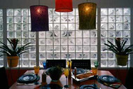 modern decorative glass block dining room wall design