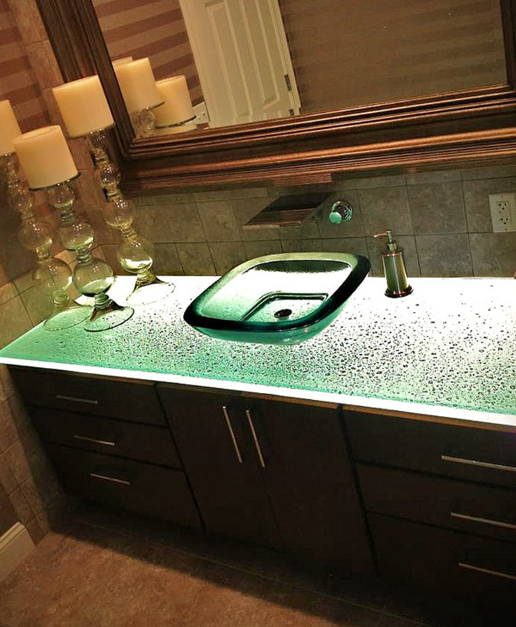 Glass countertops for kitchens bathroom vanities and bar tops nationwide supply columbus for Glass bathroom sinks countertops