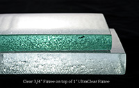 .75 inch standard clear Frizze on top 1.0 inch ultra clear frizzee on bottom
