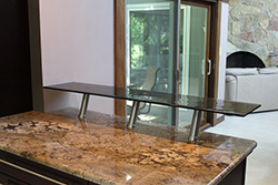 Raised glas bar top with .75 inch standard clear tactile texture