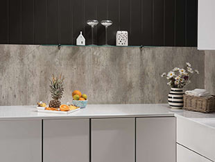 Cracked cement kitchen backsplash from the earth collection