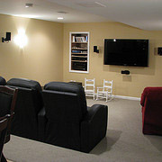 Home Theater in a lower level basement renovation cleveland ohio