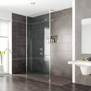 barrier free wet room tile shower system using large 18 x 18 tiles
