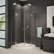 Fleurco corner shower base with sliding curved glass doors cleveland