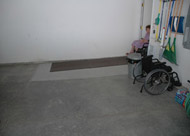 Ramp inside garage for a handicap or wheelchair entrance