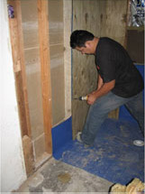 Plywood behind bathroom walls for future support grab bars