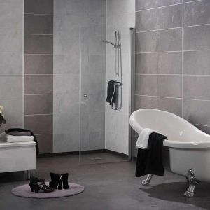 3D Textured Slate Wall Panels In A Hotel Bathroom