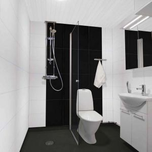 White And Black Waterproof Laminate Wall Panels In A Bathroom