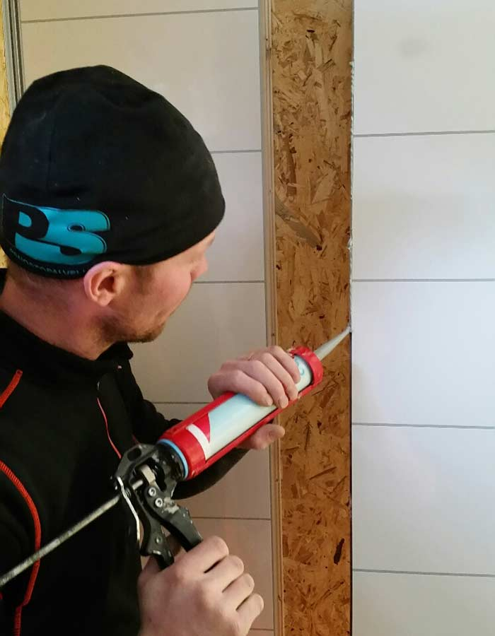 bathroom laminate wall contractor installing panels