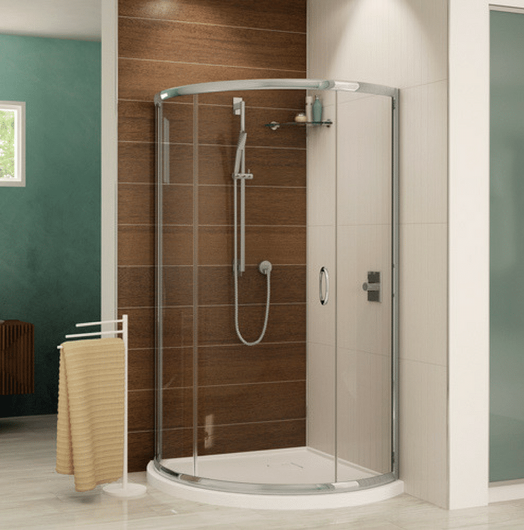 Contemporary round acrylic corner shower pan | Innovate Building Solutions | Innovate Building Solutions Multi Unit | #AcrylicBase #ContemporaryBase #ShowerPan
