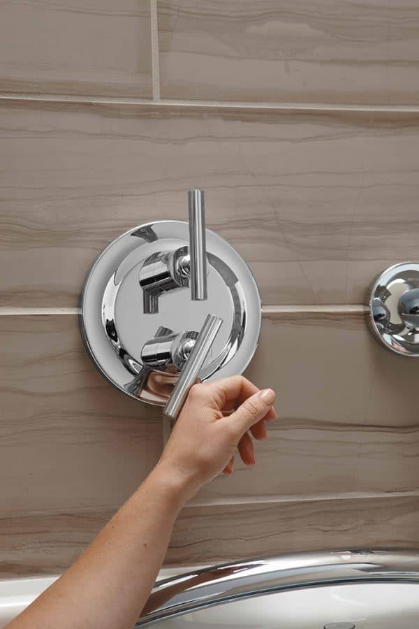 Lever style handles for a 55 plus luxury apartment rental | innovate Building Solutions | Multi Unit Site | Luxury Apartments for Elders | #LuxuryApartments #BathroomHandles #ShowerHandles