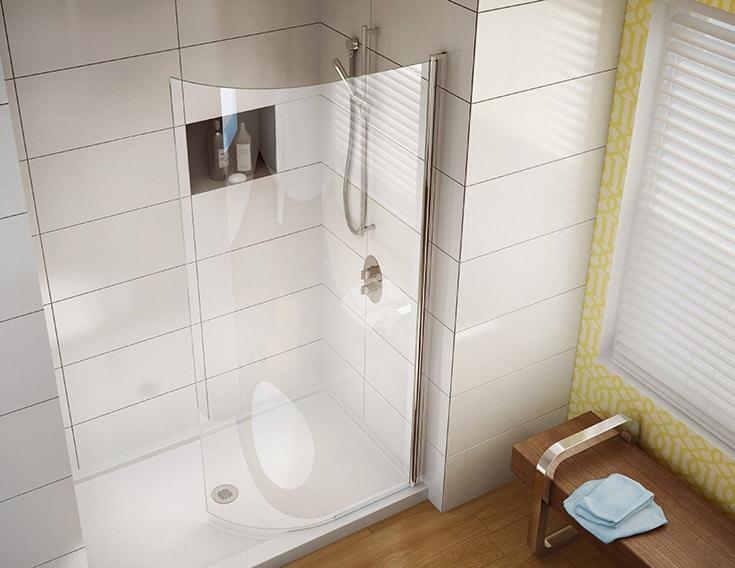 Curved glass door shower screen for a short term vacation rental   Innovate Building Solutions   Luxury Rentals   #ApartmentRentals #Glassdoor #ShowerDoor #CurvedGlassDoor