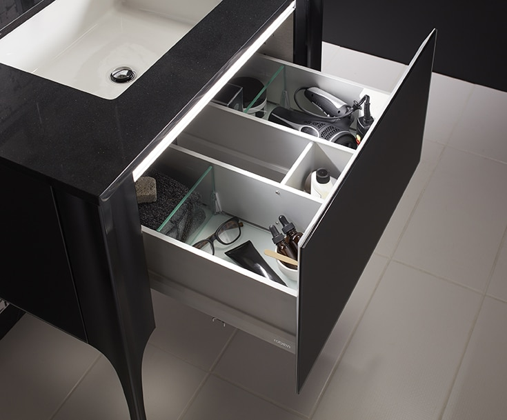 Organized vanity drawer compartments luxury senior living | Innovate Building Solutions | Senior Housing | #Makeupdrawer #SeniorLiving #AssistantLiving