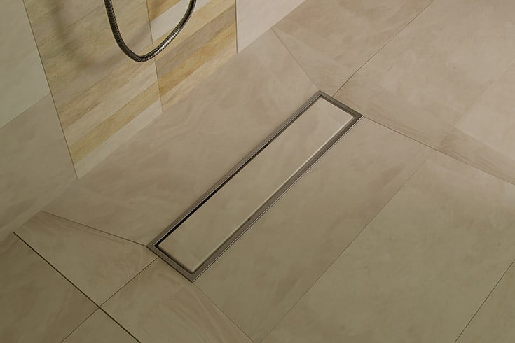 large format tiles linear drain wet room shower | innovate building solutions | senior living | senior housing | #Wetroom #showerRemodel #SeniorHousing