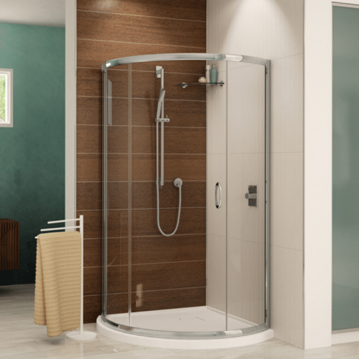 Low profile contemporary white reinforced corner acrylic shower base   Innovate Building Solutions   Multi Unit   Modular Homes   #lowprofileshower #Acrylicshowerbase #contemporaryshower