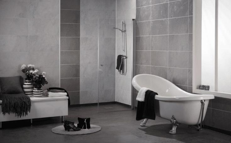 large format shower wall panels look like stone tile   Innovate Building Solutions   Innovate Multi Unit   Modular Homes   #LargeTIles #showerwallpanels #StoneTile #ModularHomes