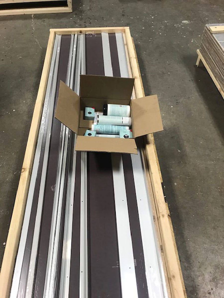 Laminate shower panel system and kit ready for shipment | Innovate Building Solutions  | #FiboPanels #ShippingWallPanels #ShowerWallPanels