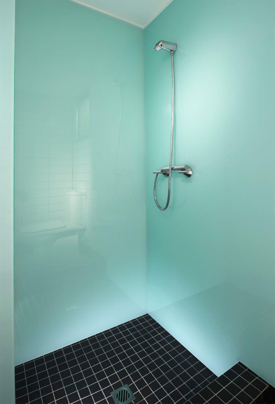 light blue high gloss acrylic shower wall panels | Innovate Building solutions | #Highgloss #AcrylicWallPanels #ShowerPanels #HighGlossPanels