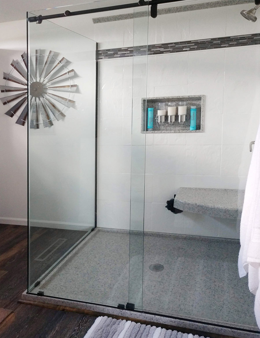 solid surface cultured granite shower wall panel prices | Innovate Building Solutions | #CulturedStone #SolidSurface #VacationHomes #ShowerSystem