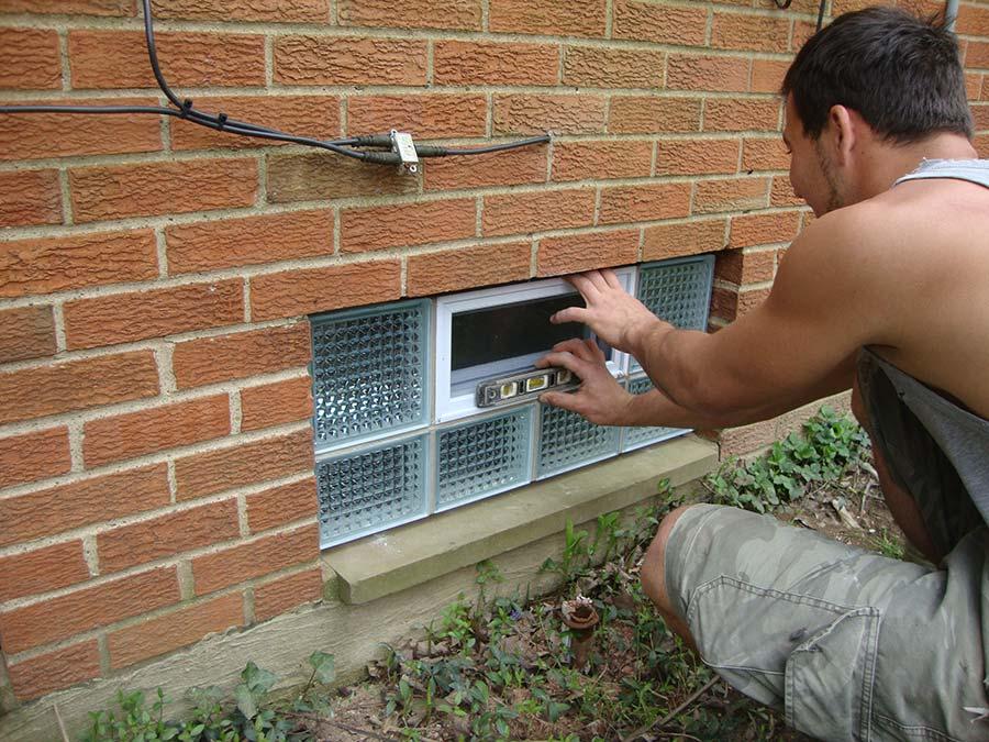 Glass block diamond pattern glass block window being installed in Reynoldsburg Ohio - Columbus Glass Block
