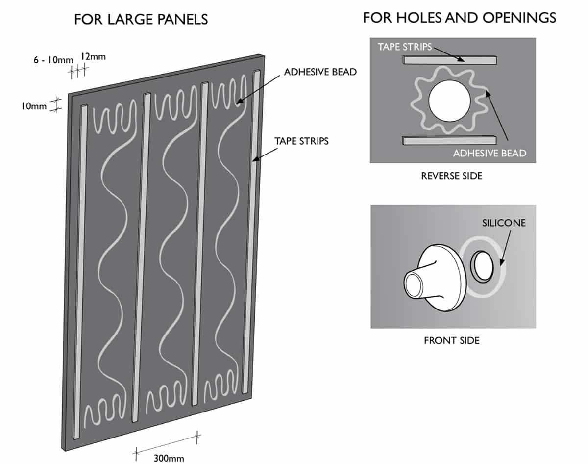 High gloss acrylic installation process of Lustrolite panels