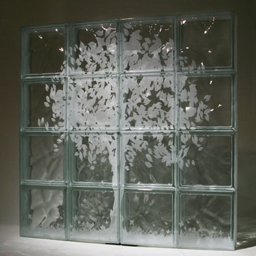 Laster etched glass block tree mural